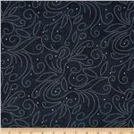 224401 110&quot; Wide Quilt Backing Scroll Navy