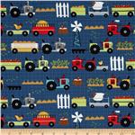 0280806 Moda Oink A Doodle Moo Tractor Garden Blue