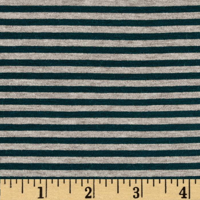 Designer Stretch Rayon Jersey Knit Mini Stripes Pine/Sand