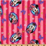 Minnie Flannel Portrait &amp; Bows Pink