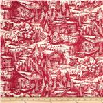 Christmas In The Woods Toile Cabins Red