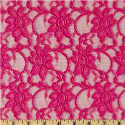 Xanna Floral Lace Fabric Hot Pink