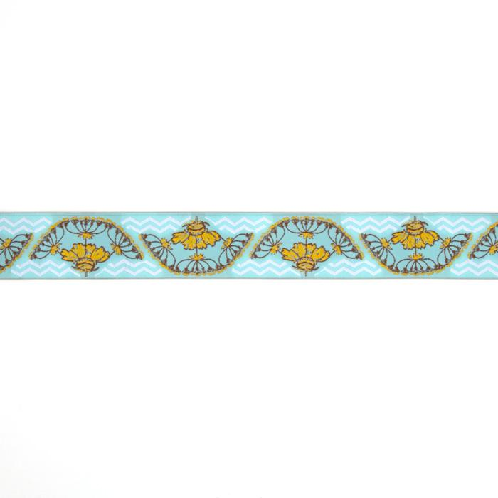 "1-1/2"" Anna Maria Horner Yarrow Flower Ribbon Gold/Light Blue"