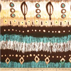 Rayon Challis Abstract Brown/White/Turquoise