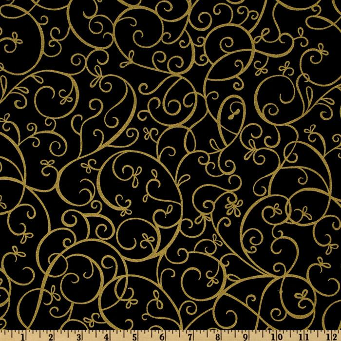 Timeless Treasures Shimmer Scroll Gold/Black