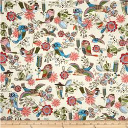 Timeless Treasures Enchanted Forest Fun Birds Cream