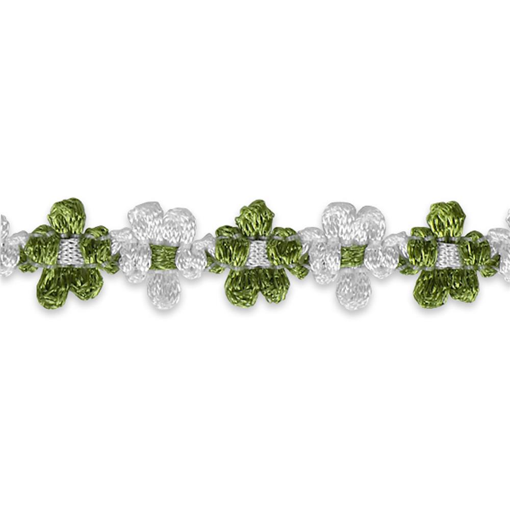 "5/8"" Amy Woven Flower Trim Lime"