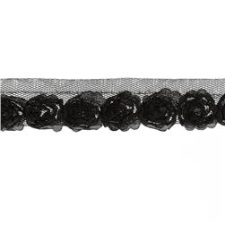 "Riley Blake Sew Together 1"" Small Rosebud Trim Black"