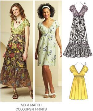 Kwik Sew Misses Bohemian Short Sleeved Dresses Pattern