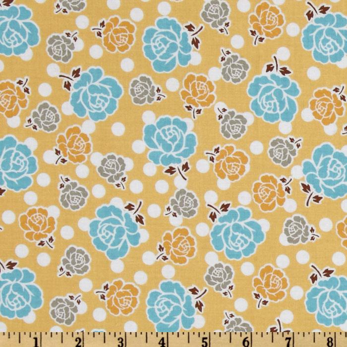 Riley Blake Polka Dot Stitches Floral Yellow