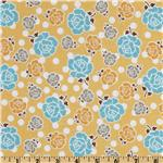 207877 Riley Blake Polka Dot Stitches Floral Yellow