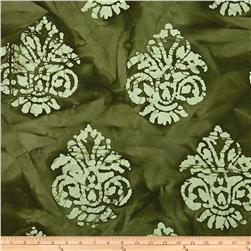 Indian Batik Arcadia Damask Olive Green