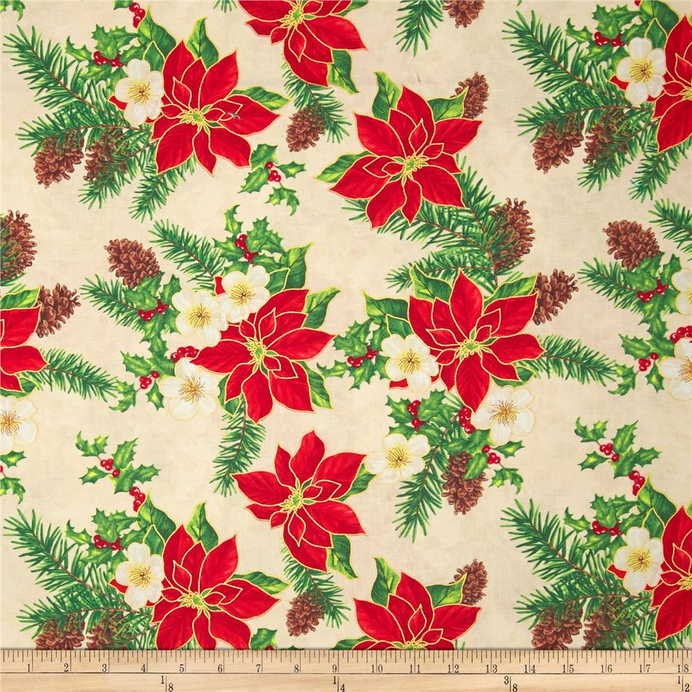 Christmas Carols Metallics Floral Mix Ivory