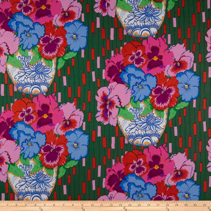 Cottage Garden Pansies Emerald - Discount Designer Fabric - Fabric.
