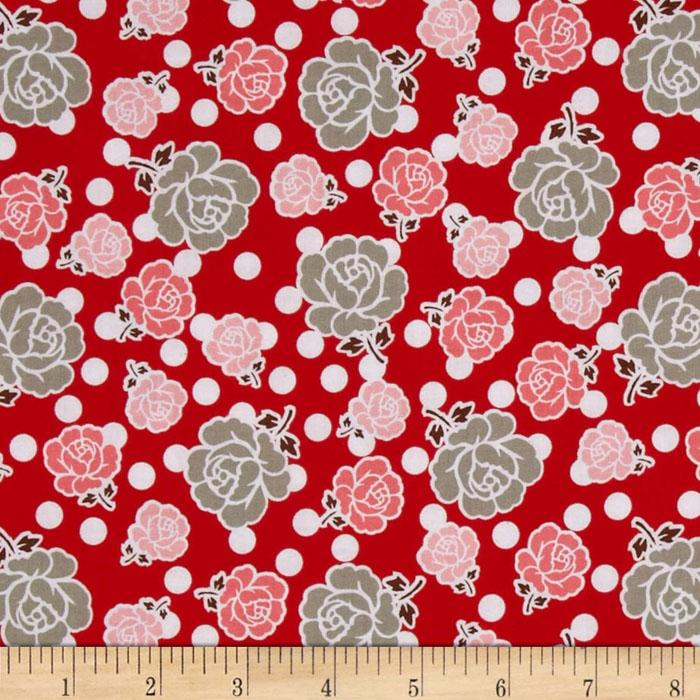 Riley Blake Polka Dot Stitches Floral Red