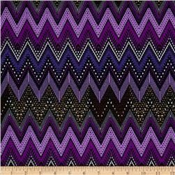 Stretch ITY Jersey Knit Chevron Lilac/Black
