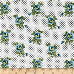 Quilts of Florence Peto Series Flowers on Pin Dots White/Blue