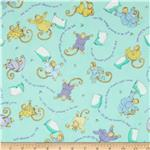 0273163 Moda Beddy Bye Flannel Little Monkeys Aqua