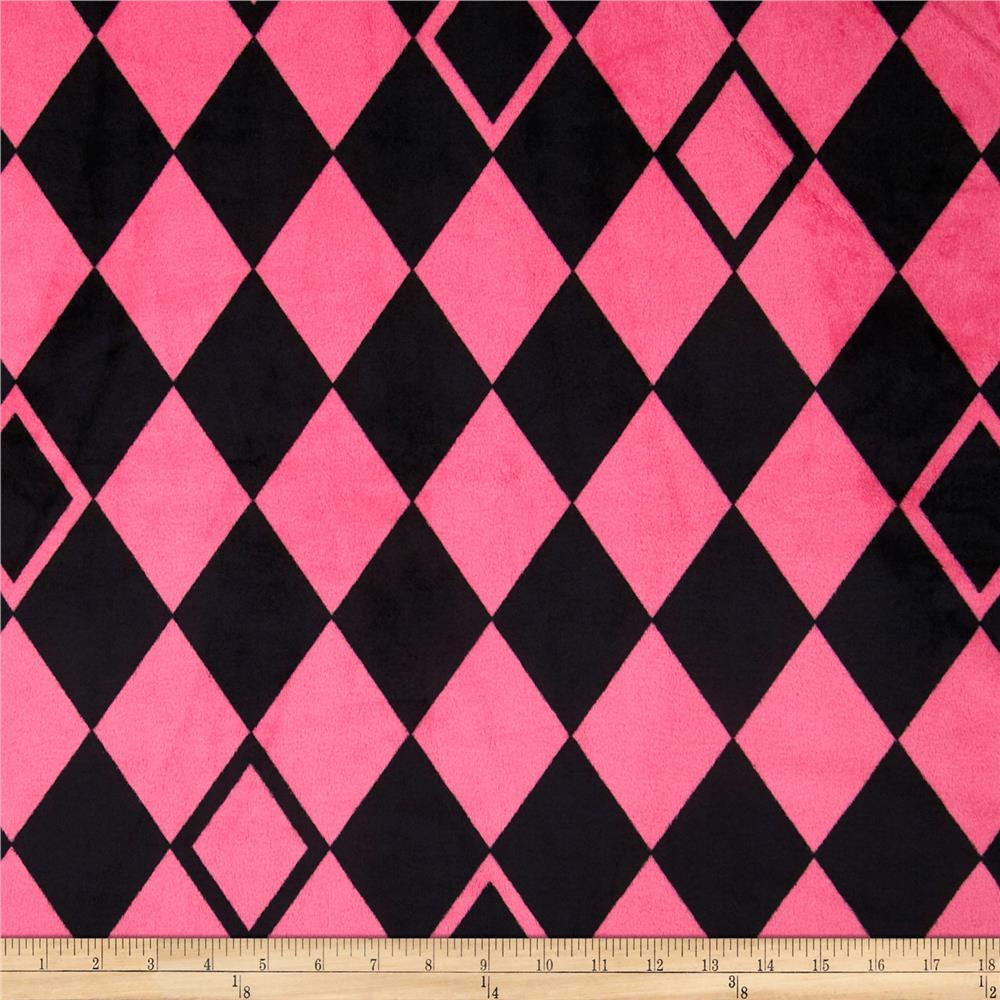 Minky Cuddle Argyle Hot Pink/Black