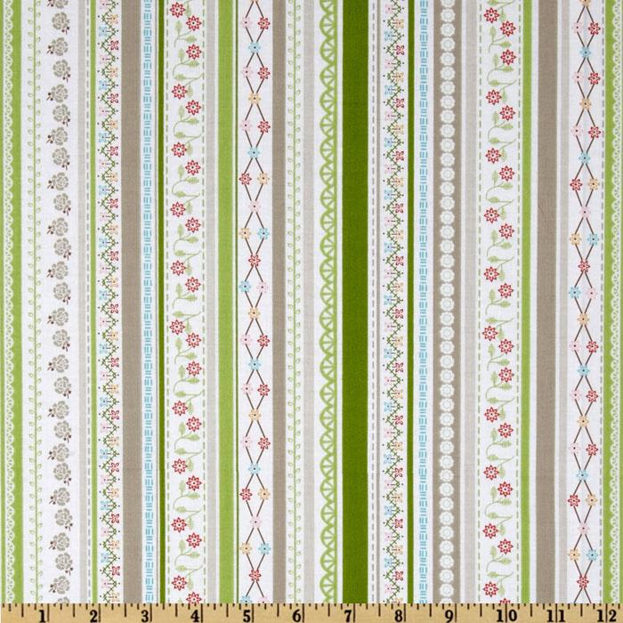 Riley Blake Polka Dot Stitches Stripe Green