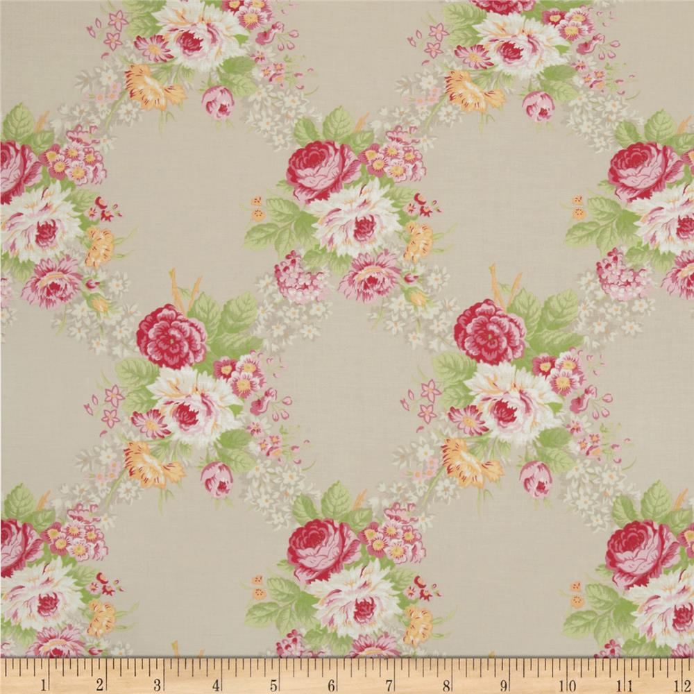 Hill Farm Large Floral Grey