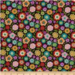 Round The Garden Allover Floral Black
