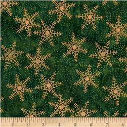 Tonga Batik Joy Metallic Snowflake Holly Green