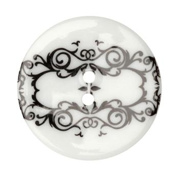 Fashion Button 1-3/8'' Damask Frame White/Black