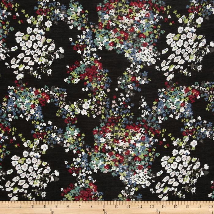 Jonquil Shirting Painterly Floral Black/Red
