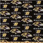 CK-218 NFL Cotton Broadcloth Baltimore Ravens Black/Purple/Gold