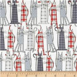 Flannel Funky Cats White