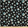 Satin Face Crepe de Chine Dots Aqua/Black