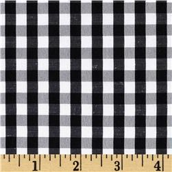 Cotton Blend Woven 1/4'' Gingham Black