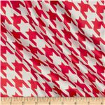 0264907 Satin Charmeuse Houndstooth Rose Red/White