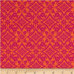 Palm Court Scroll Orange/Pink
