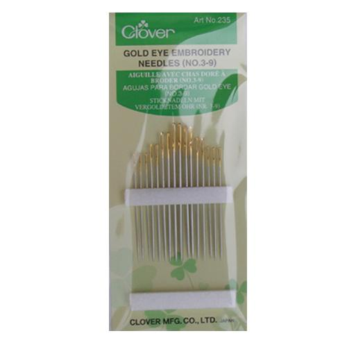 Clover Gold Eye Embroidery Needles Size 3-9 - 16 Pack