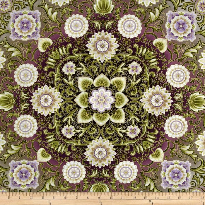 Esmeralda Metallic Floral Medallion Dawn Plum