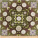 0268426 Esmeralda Metallic Floral Medallion Dawn Plum
