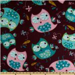 0262610 Fleece Owls Plum