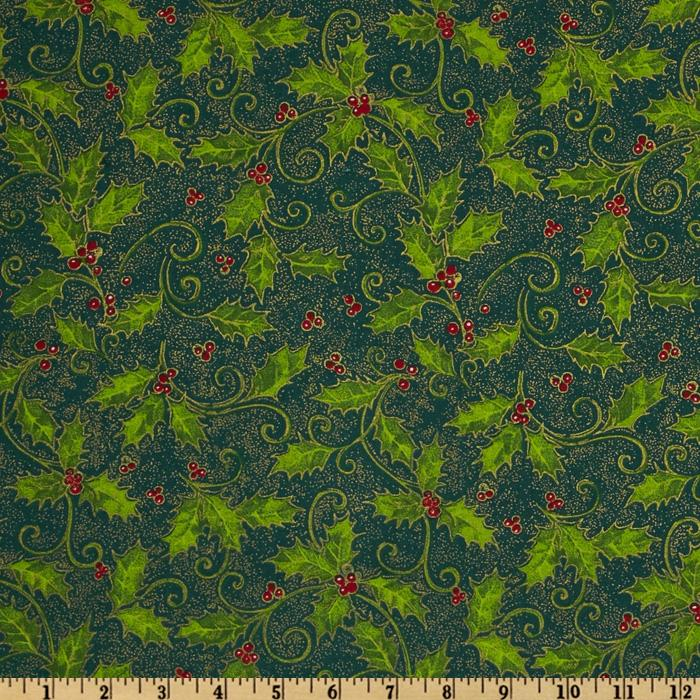Merry Christmas Leaves & Berries Green/Metallic