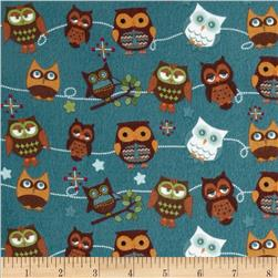 Riley Blake Hooty Hoot Returns Flannel Roll Call Blue
