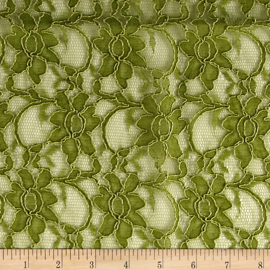 Xanna Floral Lace Fabric Olive Green