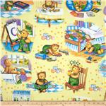 Corduroy Bear Scenic Yellow