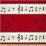 Kokka Trefle Oxford Cotton Canvas Music Notes Red