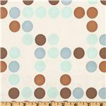 UK-308 Flannel Backed Vinyl Polka Dot Blue/Brown