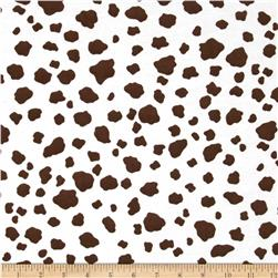 Aunt Polly's Flannel Cow Print White/Brown