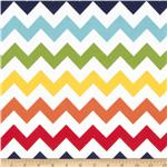 0268159 Riley Blake Flannel Basics Chevron Medium Rainbow Orange/Red