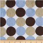 Minky Cuddle Random Multi Polka Dots Blue/Brown