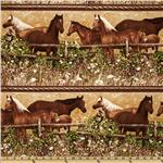 Greg Giordano Novelties Horse Border Stripe Brown