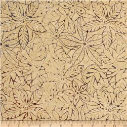 Tonga Batik Mocha Kiss Pressed Leaves Plum